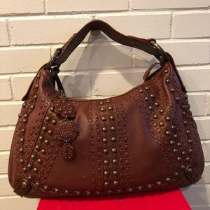 Isabella Fiore Studded Brown Hobo Bag